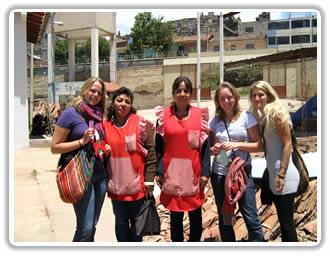 Volunteers donate in Cusco Peru